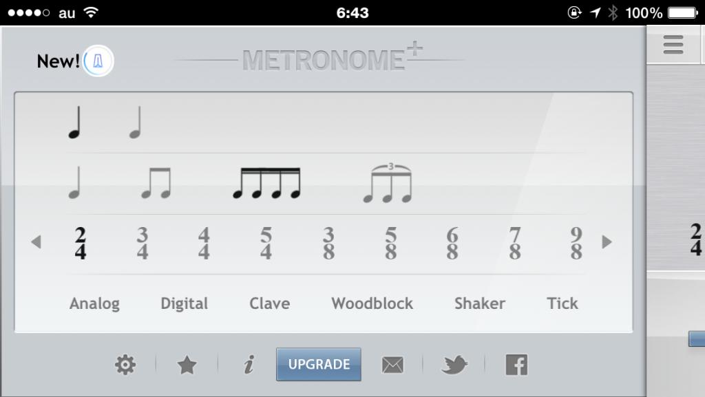 メトロノーム+の拍子設定画面
