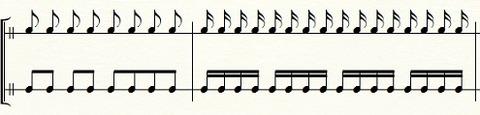 拍の単位で音符をまとめるとわかりやすい例