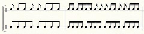 拍と関係なく音符をまとめるとわかりにくい
