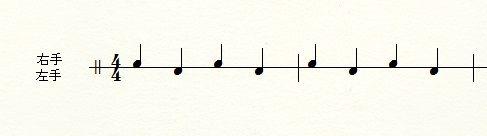 音符の上下の位置で手順を表すケース