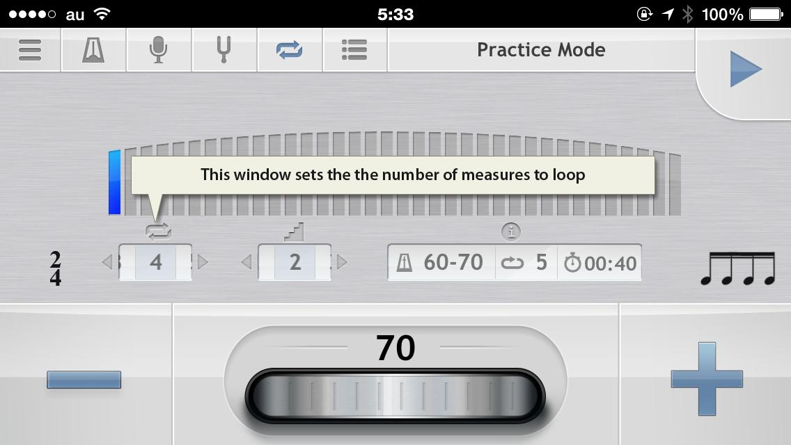 metronome ループ回数設定