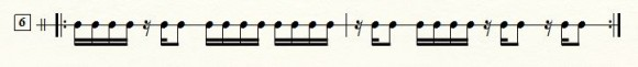 16分音符のタイミング練習の譜面の例