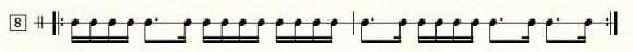 16分音符のタイミング練習の譜面の例2