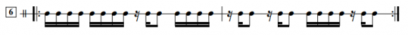 16分音符のタイミング練習の譜面の例 (AABA BBABの場合)