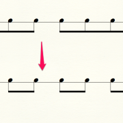 連桁の変更の譜例